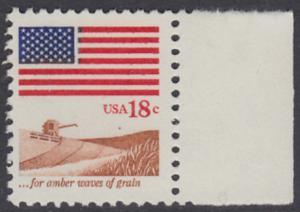 USA Michel 1464 / Scott 1890 postfrisch EINZELMARKE RAND rechts - Flagge, Weizenfeld