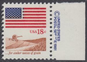 USA Michel 1464 / Scott 1890 postfrisch EINZELMARKE RAND rechts m/ copyright symbol - Flagge, Weizenfeld