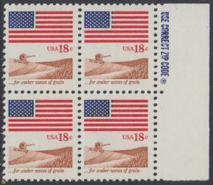 USA Michel 1464 / Scott 1890 postfrisch BLOCK RÄNDER rechts m/ ZIP-Emblem - Flagge, Weizenfeld