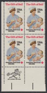 USA Michel 1467 / Scott 1910 postfrisch ZIP-BLOCK (ll) - Amerikanisches Rotes Kreuz
