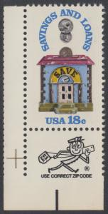 USA Michel 1469 / Scott 1911 postfrisch EINZELMARKE ECKRAND unten links m/ ZIP-Vermerk - 150 Jahre Sparkassen; Alte Sparbüchse