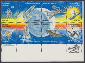 USA Michel 1481-1488 / Scott 1912-1919 postfrisch ZIP-BLOCK (lr) - Erfolge der Raumfahrt