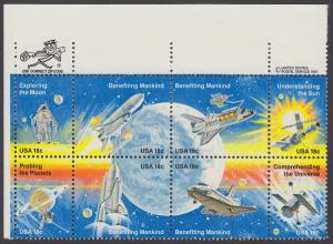 USA Michel 1481-1488 / Scott 1912-1919 postfrisch ZIP-BLOCK (ul) - Erfolge der Raumfahrt