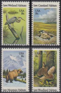 USA Michel 1493-1496 / Scott 1921-1924 postfrisch SATZ(4) EINZELMARKEN - Naturschutz