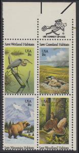 USA Michel 1493-1496 / Scott 1921-1924 postfrisch ZIP-BLOCK (ur) - Naturschutz