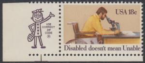 USA Michel 1497 / Scott 1925 postfrisch EINZELMARKE ECKRAND unten links m/ ZIP-Emblem - Internationales Jahr der Behinderten