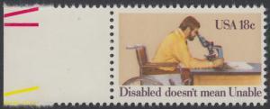 USA Michel 1497 / Scott 1925 postfrisch EINZELMARKE RAND links (a1) - Internationales Jahr der Behinderten