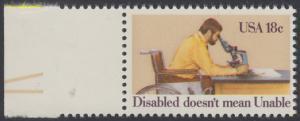 USA Michel 1497 / Scott 1925 postfrisch EINZELMARKE RAND links (a2) - Internationales Jahr der Behinderten