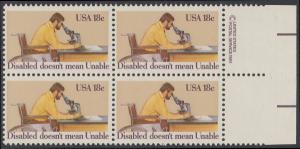 USA Michel 1497 / Scott 1925 postfrisch BLOCK RÄNDER rechts m/ copyright symbol - Internationales Jahr der Behinderten