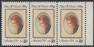 USA Michel 1498 / Scott 1926 postfrisch horiz.STRIP(3) RAND rechts - Edna St. Vincent Millay (1892-1950), Dichterin