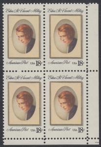 USA Michel 1498 / Scott 1926 postfrisch BLOCK ECKRAND unten rechts - Edna St. Vincent Millay (1892-1950), Dichterin