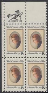 USA Michel 1498 / Scott 1926 postfrisch ZIP-BLOCK (ul) - Edna St. Vincent Millay (1892-1950), Dichterin