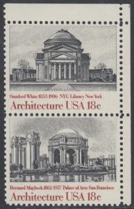 USA Michel 1500+1502 / Scott 1928+1930 postfrisch vert.PAAR ECKRAND oben rechts - Amerikanische Architektur: Universitätsbibliothek, New York, NY / Kunstmuseum San Francisco, CA