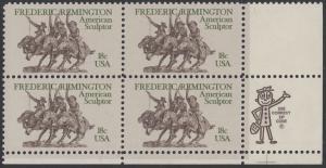 USA Michel 1506 / Scott 1934 postfrisch ZIP-BLOCK (lr) - Frederic Remington, Künstler