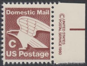 USA Michel 1507 / Scott 1946 postfrisch EINZELMARKE RAND rechts m/ copyright symbol - Adler - Emblem der US-Post