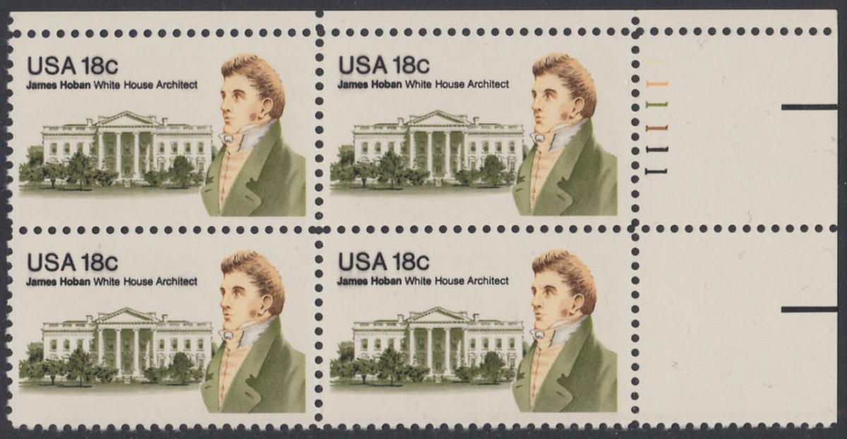 USA Michel 1509 / Scott 1935 postfrisch PLATEBLOCK ECKRAND oben rechts m/ Platten-# 111111 (b) - James Hoban (1762-1831), Architekt des Weißen Hauses 0