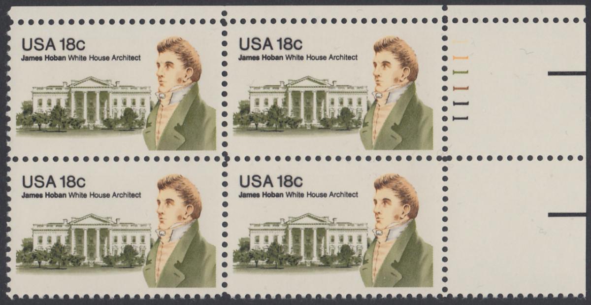 USA Michel 1509 / Scott 1935 postfrisch PLATEBLOCK ECKRAND oben rechts m/ Platten-# 111111 (a) - James Hoban (1762-1831), Architekt des Weißen Hauses 0