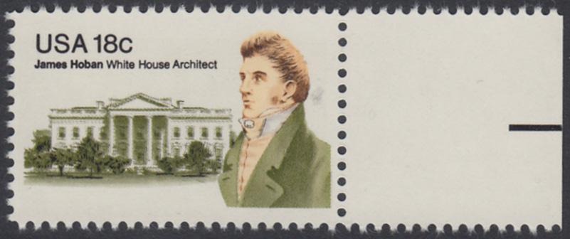 USA Michel 1509 / Scott 1935 postfrisch EINZELMARKE RAND rechts - James Hoban (1762-1831), Architekt des Weißen Hauses 0
