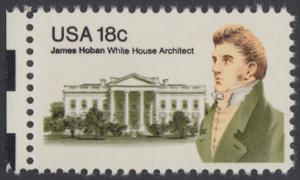 USA Michel 1509 / Scott 1935 postfrisch EINZELMARKE RAND links - James Hoban (1762-1831), Architekt des Weißen Hauses