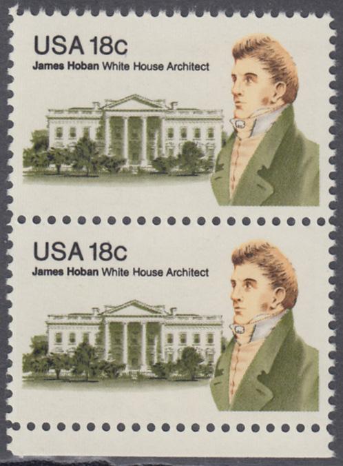 USA Michel 1509 / Scott 1935 postfrisch vert.PAAR RAND unten - James Hoban (1762-1831), Architekt des Weißen Hauses 0