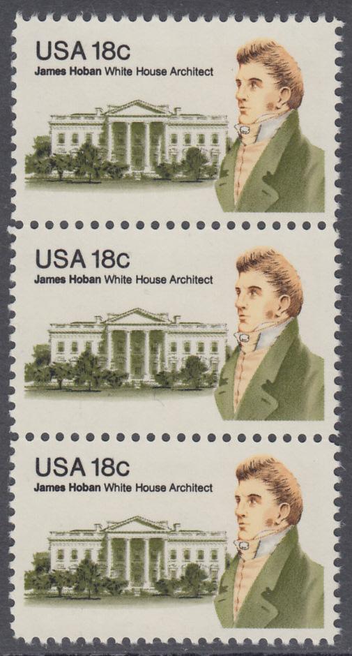 USA Michel 1509 / Scott 1935 postfrisch vert.STRIP(3) - James Hoban (1762-1831), Architekt des Weißen Hauses 0