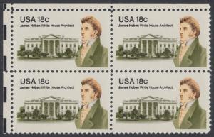USA Michel 1509 / Scott 1935 postfrisch BLOCK ECKRAND oben links - James Hoban (1762-1831), Architekt des Weißen Hauses