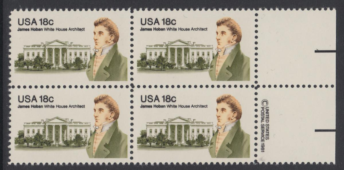 USA Michel 1509 / Scott 1935 postfrisch BLOCK RÄNDER rechts m/ copyright synmbol (a2) - James Hoban (1762-1831), Architekt des Weißen Hauses 0