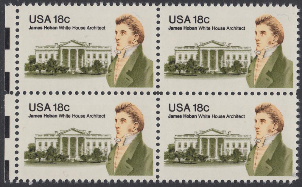 USA Michel 1509 / Scott 1935 postfrisch BLOCK RÄNDER links - James Hoban (1762-1831), Architekt des Weißen Hauses 0