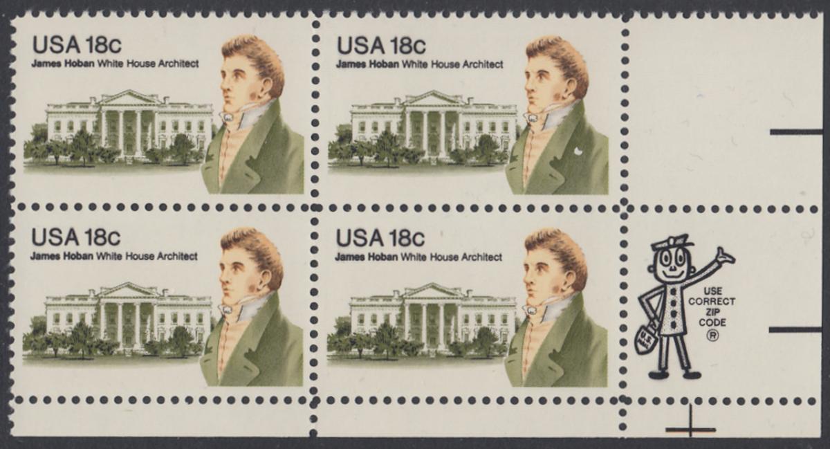 USA Michel 1509 / Scott 1935 postfrisch ZIP-BLOCK (lr) - James Hoban (1762-1831), Architekt des Weißen Hauses 0