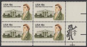 USA Michel 1509 / Scott 1935 postfrisch ZIP-BLOCK (lr) - James Hoban (1762-1831), Architekt des Weißen Hauses