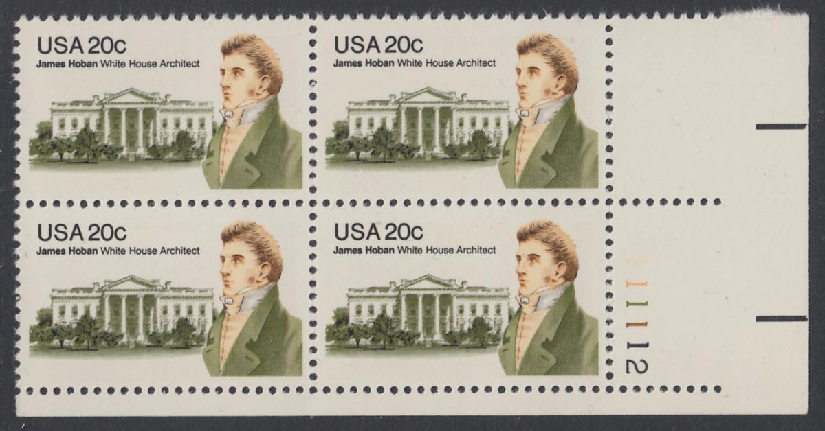 USA Michel 1510 / Scott 1936 postfrisch PLATEBLOCK ECKRAND unten rechts m/ Platten-# 111112 - James Hoban (1762-1831), Architekt des Weißen Hauses 0
