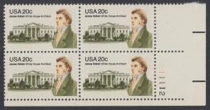 USA Michel 1510 / Scott 1936 postfrisch PLATEBLOCK ECKRAND unten rechts m/ Platten-# 111112 - James Hoban (1762-1831), Architekt des Weißen Hauses
