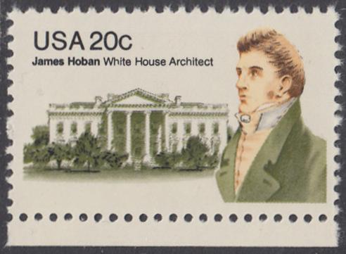 USA Michel 1510 / Scott 1936 postfrisch EINZELMARKE RAND unten - James Hoban (1762-1831), Architekt des Weißen Hauses 0