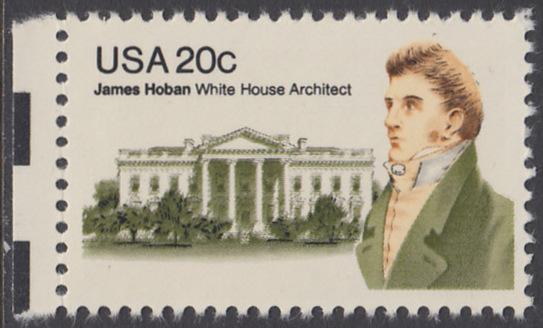 USA Michel 1510 / Scott 1936 postfrisch EINZELMARKE RAND links - James Hoban (1762-1831), Architekt des Weißen Hauses 0