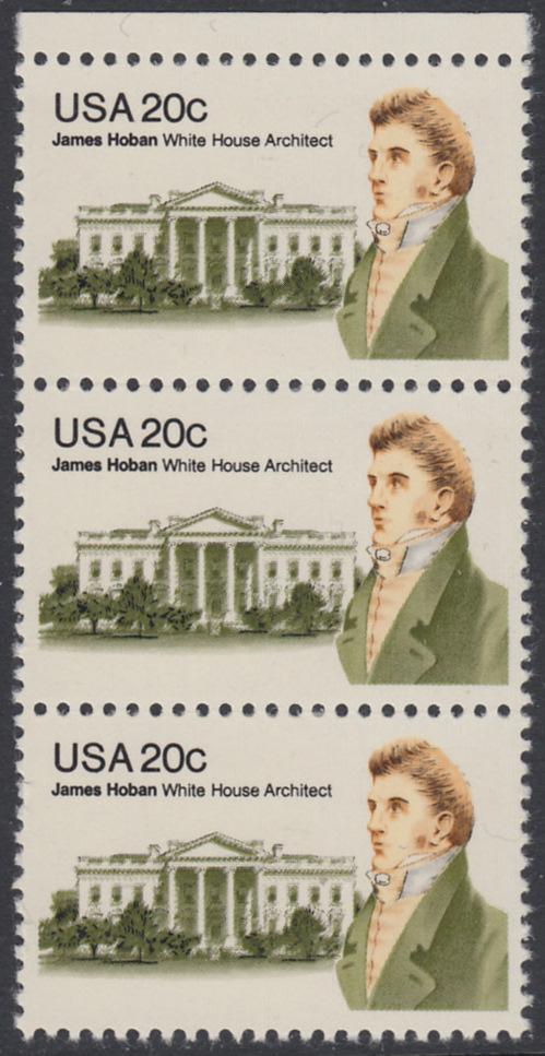 USA Michel 1510 / Scott 1936 postfrisch vert.STRIP(3) RAND oben - James Hoban (1762-1831), Architekt des Weißen Hauses 0