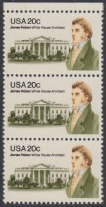 USA Michel 1510 / Scott 1936 postfrisch vert.STRIP(3) RAND oben - James Hoban (1762-1831), Architekt des Weißen Hauses