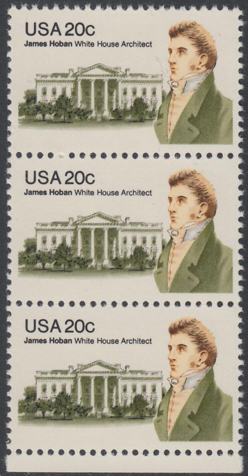 USA Michel 1510 / Scott 1936 postfrisch vert.STRIP(3) RAND unten - James Hoban (1762-1831), Architekt des Weißen Hauses 0
