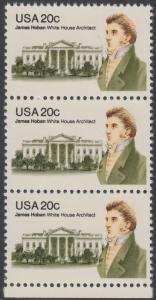 USA Michel 1510 / Scott 1936 postfrisch vert.STRIP(3) RAND unten - James Hoban (1762-1831), Architekt des Weißen Hauses
