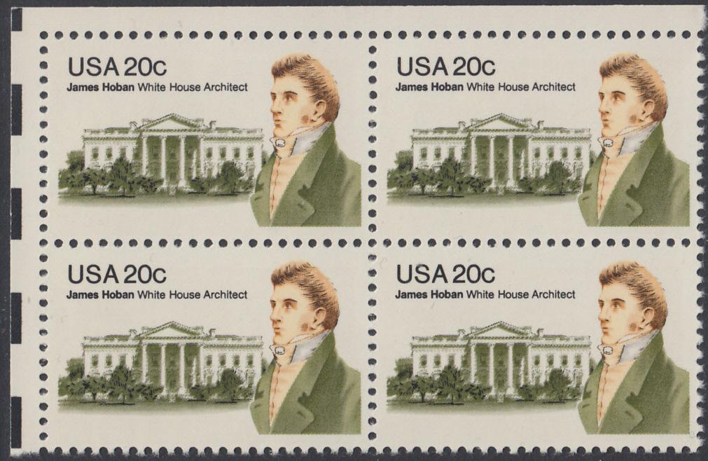 USA Michel 1510 / Scott 1936 postfrisch BLOCK ECKRAND oben links - James Hoban (1762-1831), Architekt des Weißen Hauses 0