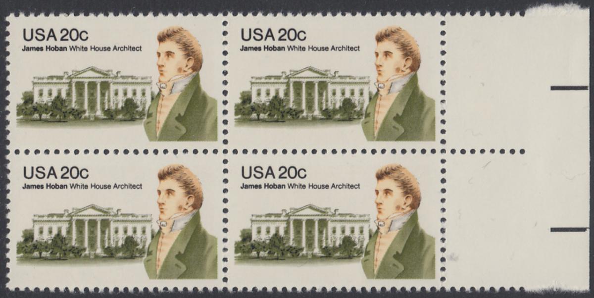 USA Michel 1510 / Scott 1936 postfrisch BLOCK RÄNDER rechts - James Hoban (1762-1831), Architekt des Weißen Hauses 0