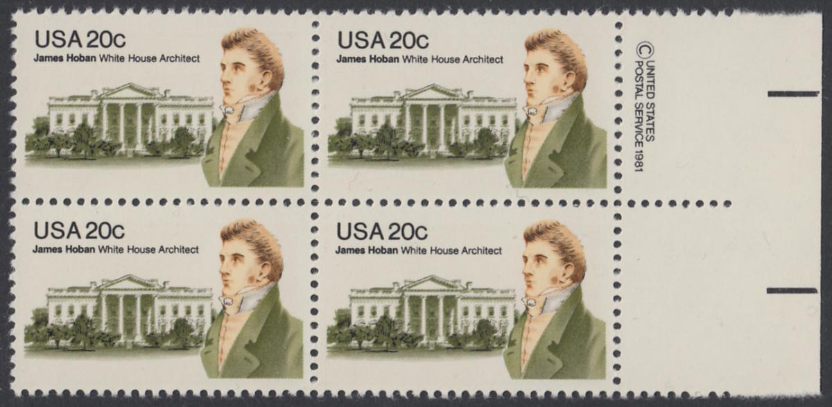 USA Michel 1510 / Scott 1936 postfrisch BLOCK RÄNDER rechts m/ copyright symbol (a1) - James Hoban (1762-1831), Architekt des Weißen Hauses 0