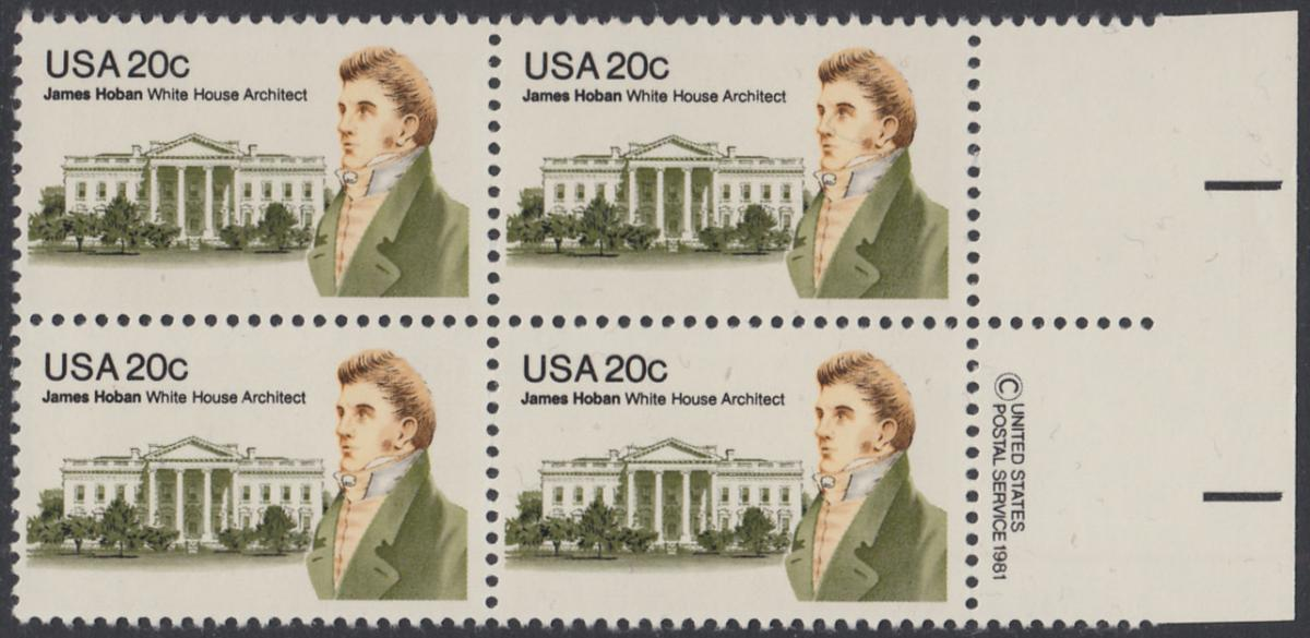 USA Michel 1510 / Scott 1936 postfrisch BLOCK RÄNDER rechts m/ copyright symbol (a2) - James Hoban (1762-1831), Architekt des Weißen Hauses 0