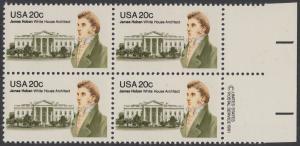 USA Michel 1510 / Scott 1936 postfrisch BLOCK RÄNDER rechts m/ copyright symbol (a2) - James Hoban (1762-1831), Architekt des Weißen Hauses