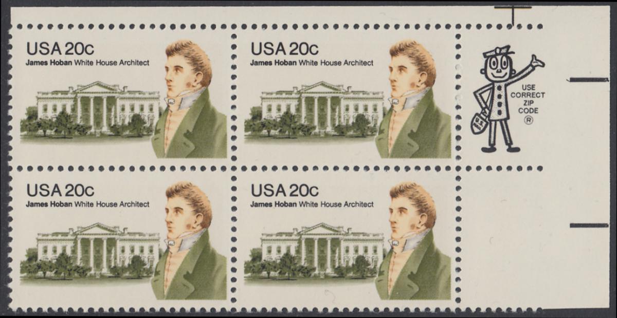 USA Michel 1510 / Scott 1936 postfrisch ZIP-BLOCK (ur) - James Hoban (1762-1831), Architekt des Weißen Hauses 0