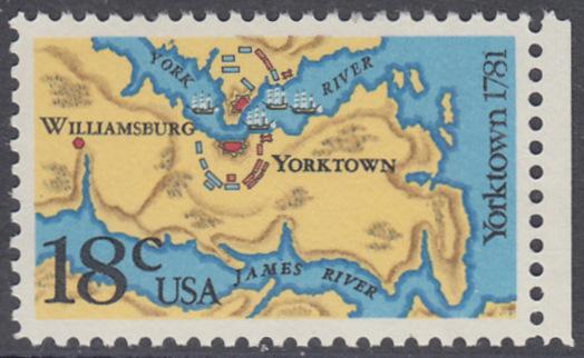 USA Michel 1511 / Scott 1937 postfrisch EINZELMARKE RAND rechts - 200. Jahrestag der Schlachten von Yorktown und vor der Chesapeake Bay 0