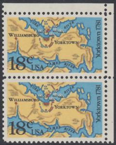 USA Michel 1511 / Scott 1937 postfrisch vert.PAAR ECKRAND oben rechts - 200. Jahrestag der Schlachten von Yorktown und vor der Chesapeake Bay