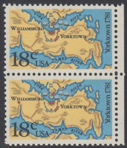 USA Michel 1511 / Scott 1937 postfrisch vert.PAAR RÄNDER rechts - 200. Jahrestag der Schlachten von Yorktown und vor der Chesapeake Bay