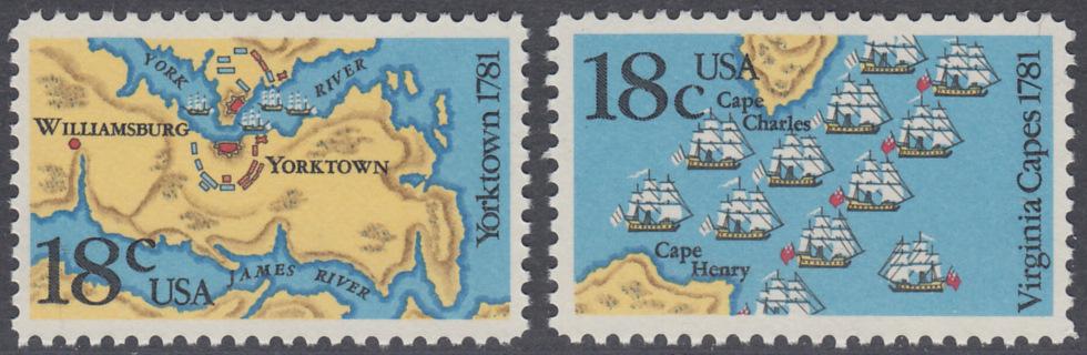 USA Michel 1511-1512 / Scott 1937-1938 postfrisch SATZ(2) EINZELMARKEN - 200. Jahrestag der Schlachten von Yorktown und vor der Chesapeake Bay 0
