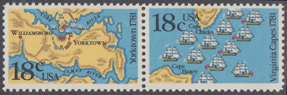 USA Michel 1511-1512 / Scott 1937-1938 postfrisch horiz.PAAR - 200. Jahrestag der Schlachten von Yorktown und vor der Chesapeake Bay 0