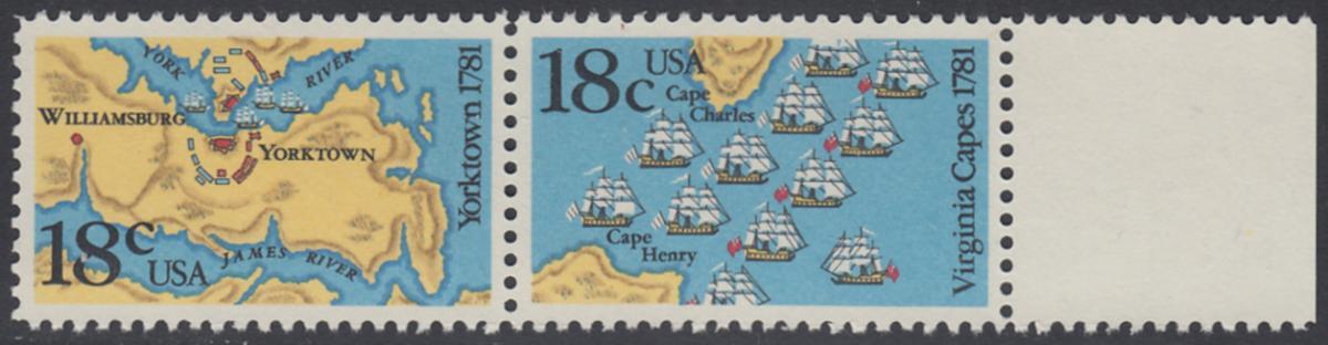 USA Michel 1511-1512 / Scott 1937-1938 postfrisch horiz.PAAR RAND rechts - 200. Jahrestag der Schlachten von Yorktown und vor der Chesapeake Bay 0